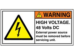 High voltage 48 Volts DC label