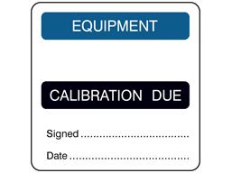 Equipment, calibration due combination label.