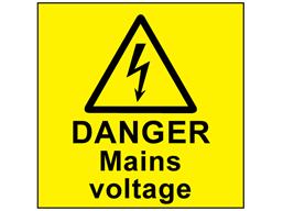 Danger mains voltage label