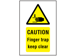 Caution Finger trap keep clear symbol and text safety sign.