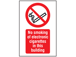 No smoking of electronic cigarettes in this building symbol and text safety sign.