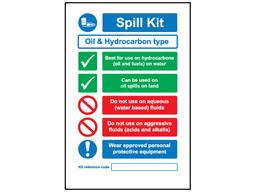 Oil spill kit sign.