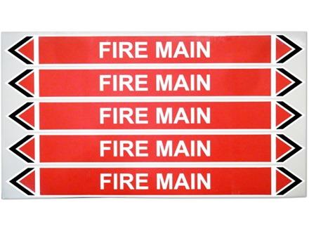 Fire main flow marker label.