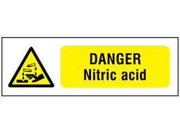 Danger nitric acid safety sign.