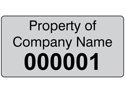 Assetmark foil serial number label (black text), 19mm x 38mm