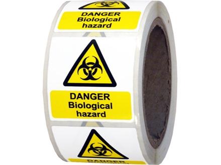 Danger biological hazard symbol and text safety label.