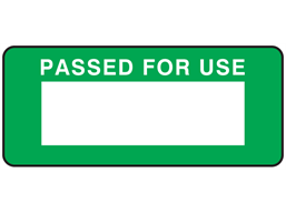 Passed for use label equipment label.