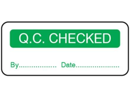 Q.C. Checked label.