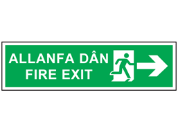 Allanfa dân, Fire exit (arrow right). Welsh English sign.
