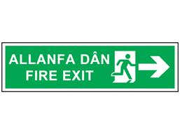 Allanfa dân, Fire exit (arrow right). Welsh English sign.