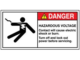 Danger hazardous voltage label