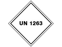 UN 1263 (Paint including thinnners, drying compound, varnish, polish) label.