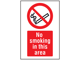 No smoking in this area symbol and text safety sign.