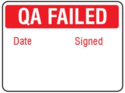 Jumbo QA Failed label - 250 pack