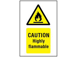 Caution highly flammable symbol and text safety sign.