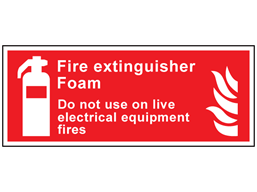 Fire extinguisher foam, Do not use on live electrical equipment fires symbol and text sign.