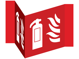 Fire extinguisher projecting safety sign.