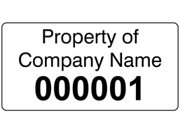 Assetmark serial number label (black text), 19mm x 38mm