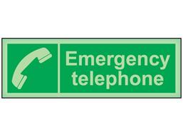 Emergency telephone photoluminescent safety sign