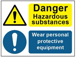 COSHH. Danger hazardous substances, wear personal protective equipment sign.
