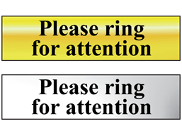Please ring for attention metal doorplate