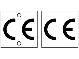 CE symbol aluminium nameplates.
