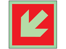 Diagonal fire arrow facing left and down symbol photoluminescent safety sign