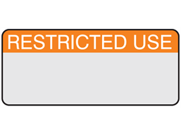 Restricted use aluminium foil labels.