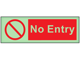 No entry photoluminescent safety sign
