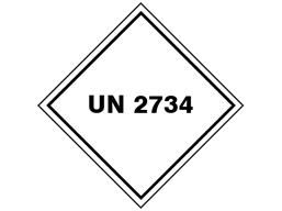 UN 2734 (Amines or polyamines) label.