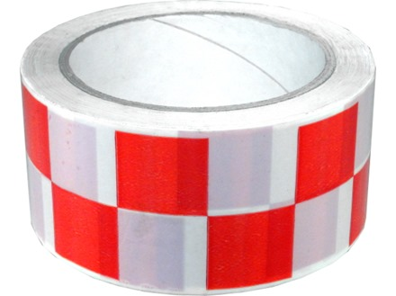Laminated warning tape, red and white check.