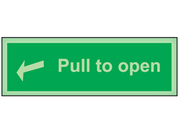 Pull to open photoluminescent safety sign