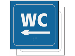 WC, arrow left sign.