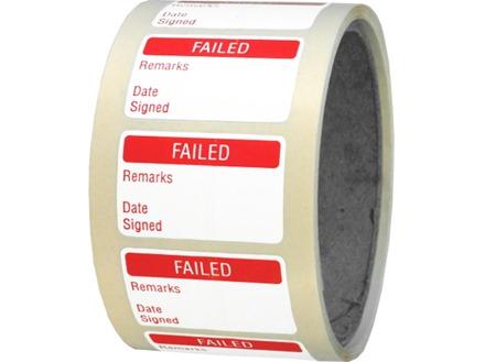 Failed quality assurance label
