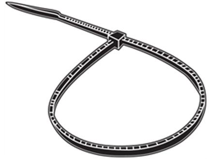 Plain nylon cable ties, black