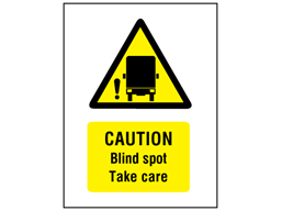 Caution blind spot take care symbol and text safety sign.