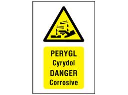 Pergyl Cyrydol, Danger Corrosive. Welsh English sign.