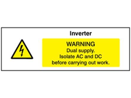 Inverter. Warning dual supply PV hazard label