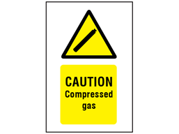 Caution compressed gas symbol and text safety sign.