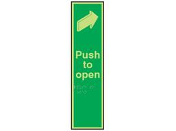 Push door to open fingerplate photoluminescent sign.