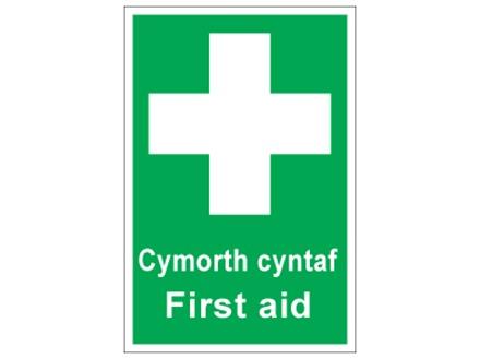 Cymorth cyntaf, First aid. Welsh English sign.