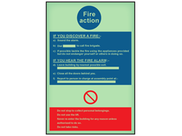 Fire action photoluminescent safety sign