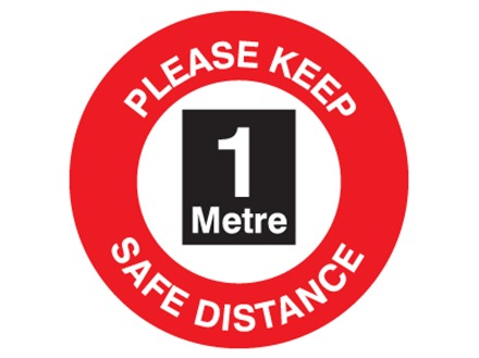 Please keep safe distance, one metre