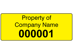 Assetmark serial number label (black text), 19mm x 50mm