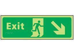 Exit arrow down right photoluminescent sign.