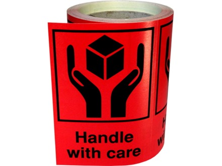 Handle with care shipping label.