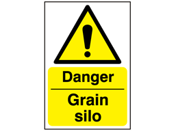 Danger, Grain silo safety sign.