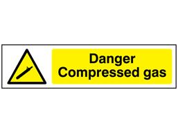 Danger Compressed gas, mini safety sign.