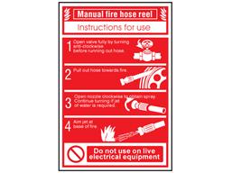 Manual fire hose reel sign