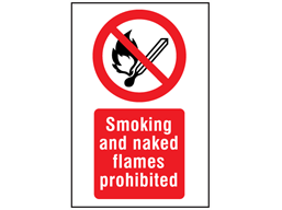 Smoking and naked flames prohibited symbol and text safety sign.